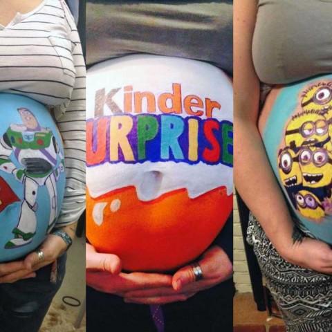 Il dessine sur le ventre de sa femme enceinte en attendant l'accouchement !