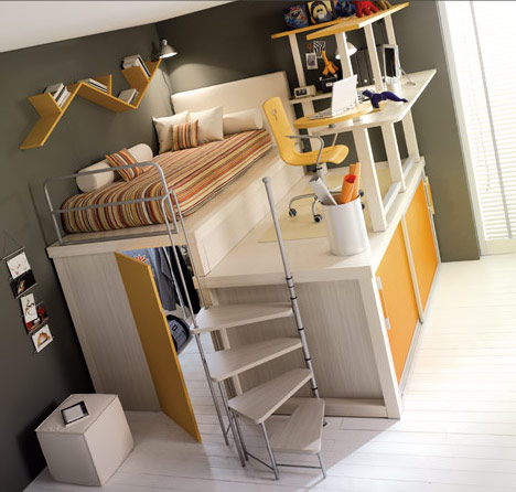 le lit pour une chambre d'étudiant