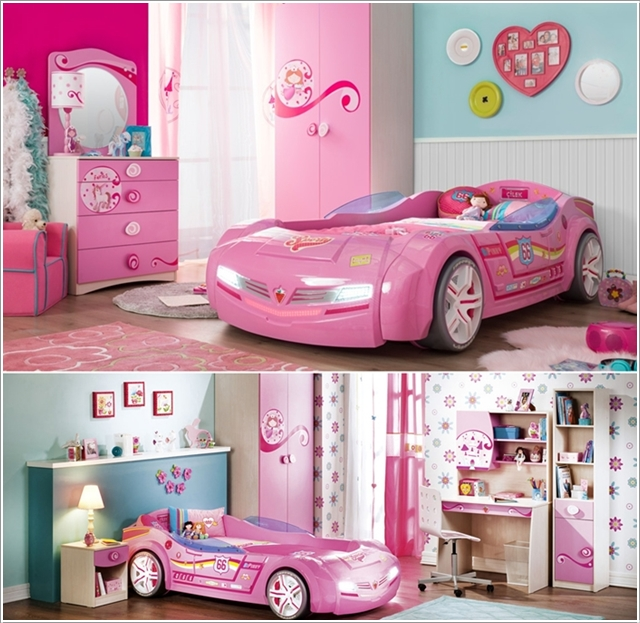 la voiture de course lit en version rose