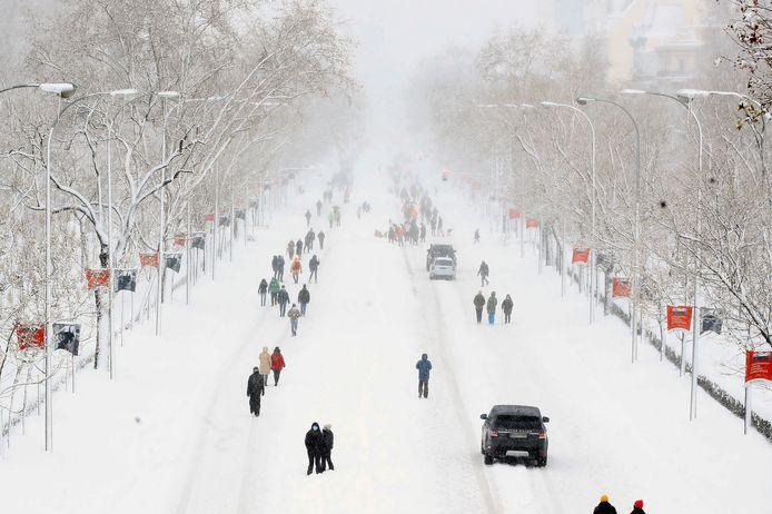 Bataille de neige géante à Madrid